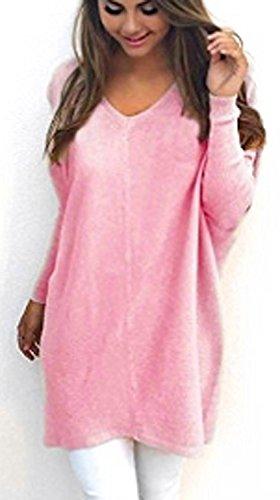 DoubleYI Damen Pullover Casual Langarm Sweatshirt V-Ausschnitt Sweater Pulli Strick Oversize Bluse