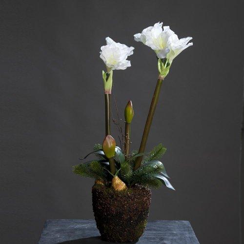 Amaryllis in Erdballen Kunstblume Kunstpflanze, 70 cm, creme