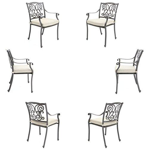 Made for us 6 Gartenstühle aus wetterfestem Aluguss mit UV beständiger AkzoNobel Einbrennlackierung. Inkl. 6 waschbaren Sitzkissen. Platzsparend stapelbar. Das Original