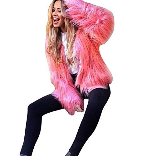 Xinan Mantel Damen Warm Faux Pelz Fox Jacke Parka Outerwear (XXL, Wassermelonenrot)