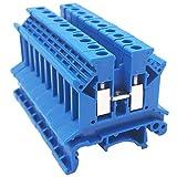 XZANTE Combinatore DK2.5N-BL Distribuzione alimentazione 10 Gang Dk2.5N-BL 10 Morsettiera per guida DIN Morsettiera, 12-22 AWG, 20 Amp, 600V Combinatore solare, blu
