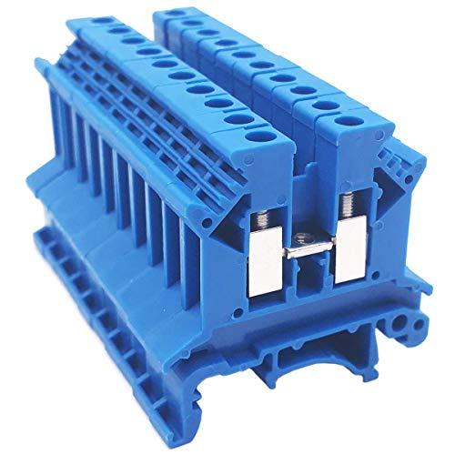XZANTE Combinador Dk2.5N-Bl 10 Grupos Distribución de Potencia Dk2.5N-Bl 10 Grupos Conector de Caja Bloques de Terminal de Riel DIN, 12-22 Awg, 20 Amp, 600V Combinador Solar, Azul
