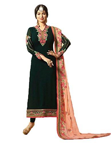 Salwar Suit Jesti Designer Women\'s Faux Georgette Dark Green Embroidery Gown Latest Party Wear Designe Straight Anarkali Semi Stitched Free Size Salwar Suit Dress Material With Dupatta ( Fiona-916 -D