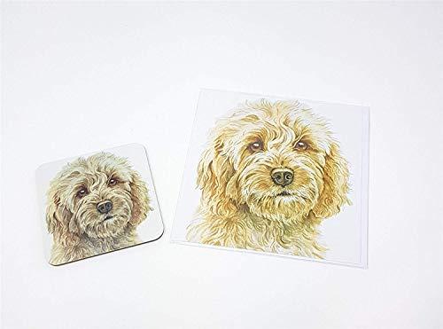 Ensemble 2 pièces blonde Cockapoo chien toutou fabriqué en Royaume-Uni Tasse en céramique mug pot accueil anniversaire carte de Noël
