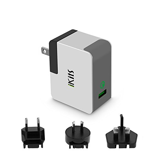 Quick Charge 2.0, iKits ETL Listed Internationale Ladegeräte USB Ladegeräte 1 Port QC2.0 Fast Charge für Samsung S7, Note4, iPhone/iPad & more universal US AU UK EU Plug Pack Gray International Travel Charger Pack