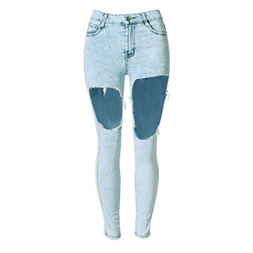 damen jeans disco hohe taille denim loose straight hosen reißverschluss tasche big holes hose hellblau . light blue . 34