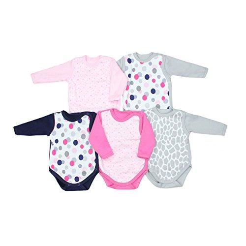 TupTam Baby Wickelbody Langarm-Body Jungen 100% Baumwolle Mädchen Bodys mit Print im 5er Pack, Farbe: Mädchen, Größe: 68