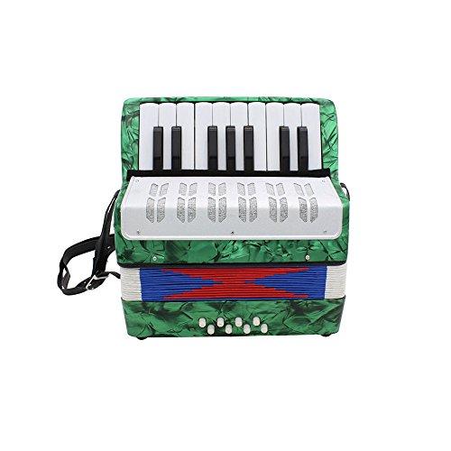Andoer Mini Petit 17-Touches 8 Basse Accordéon éducation Musicale Instrument Jouets pour les Enfants Amateur Débutant Cadeau de Noël