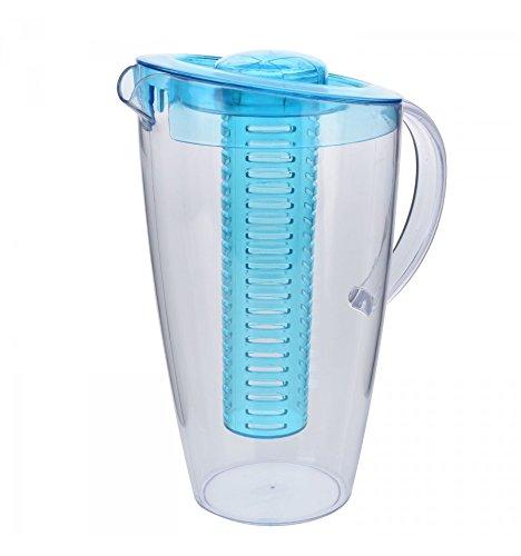 Kunststoff-Karaffe mit Frucht-Einsatz - 2 Liter Wasserkaraffe (Blau)