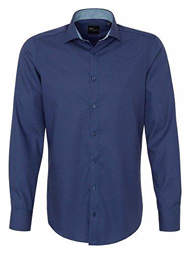 Venti Herren Anzughemd 162722500 Kentkragen Tailliert 100% Baumwolle - Body Fit Marineblau 41