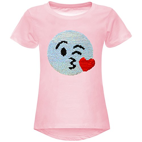 BEZLIT Mädchen Wende-Pailletten Stretch T-Shirt Smile-Motiv 22606 Rosa Größe 140