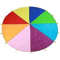 Kids Parachute Giant Multicolored Kid\'s Play Parachute Canopy con 16 Asas Juegos para Interiores y Exteriores y Juguetes para Hacer Ejercicio Promover El Trabajo en Equipo, Hacer Ejercicio Físico(3m)
