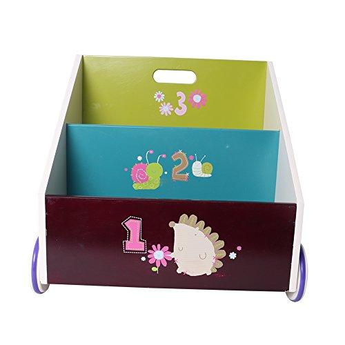Labebe - Kinder Holz Bücherregal Spielzeugregale mit Rollen - 2 Fächer (Igel)/ 495*350*455 mm
