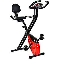 Preisvergleich für Merax® Faltbares Heimtrainer Ergometer Hometrainer F-Bike Fitness-Fahrrad Handpulssensoren/Rückenlehne/ Trainingscomputer