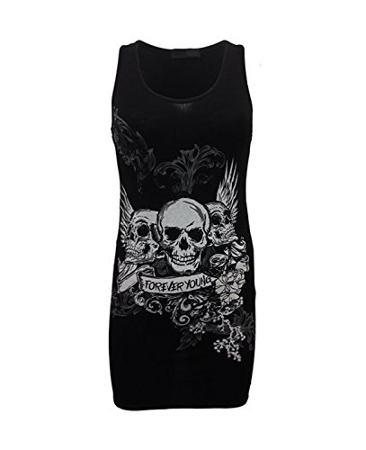 Camiseta para mujer con diseño de calavera y texto «forever young» Negro negro Medium / Large