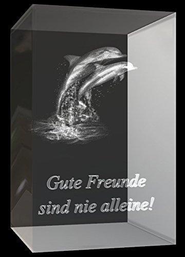 """VIP-LASER 3D Glaskristall Quader XL 3D zwei Delphine mit Text """"Gute Freunde sind nie alleine!"""" graviert"""