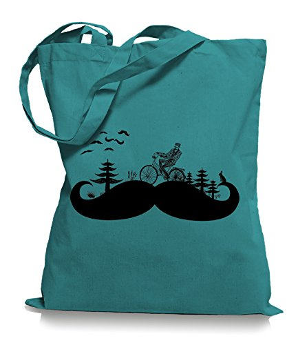 Moustache Land Stoffbeutel | Kult Hipster Retro Tragetasche Bart Emerald