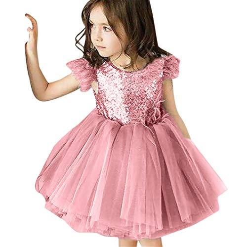 d Kinder Mädchen ärmellose Tassel Tüll rückenfreie Pailletten Party Prinzessin Kleid (Rosa, 18-24 Monate-100) ()