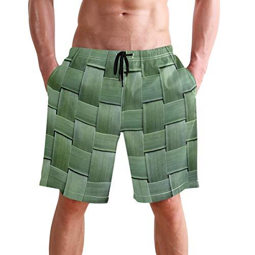 WTZYXS Bamboo Weaving 3D Print Summer Beach Shorts Mens Swim Trunks Sports Running Swimwears with Mesh Lining XXL -