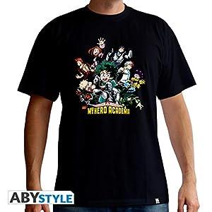 ABYstyle - Camiseta de Manga Corta para Hombre, diseño con Texto Hero, Color Negro