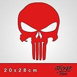 PUNISHER Aufkleber Auto Sticker Autosticker Autoaufkleber Decal War Zone Totenkopf Skull (20 x 28 cm, Rot)