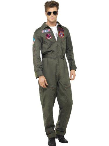 Rubie's Deluxe Top Gun Aviator + Occhiali da Uomo Militare Adulto Uniforme Costume Travestimento