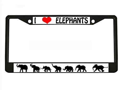 I LOVE ELEPHANTS black Metal Auto License Plate Frame Car Tag Holder with car banner flag hanger by New Custom Auto Tag