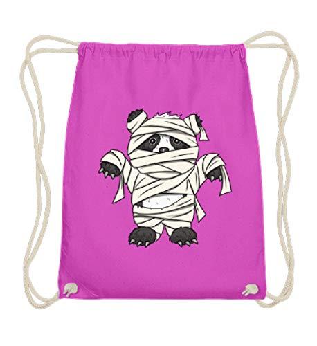 Shirtee kleiner Pandabär mit Mumie Kostüm - Halloween Design für alle Panda Fans und Bären Freunde - Baumwoll Gymsac -37cm-46cm-Fuchsia