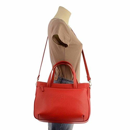 sacchetto di cuoio 2 maniglie Rosso