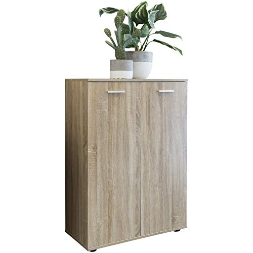 FineBuy Kommode Svea mit 2 Türen 71x104x35cm Sonoma Mehrzweckschrank Holz   Flurschrank hell modern   Schrank klein   Anrichte Sideboard matt   Kommodenschrank Flurmöbel