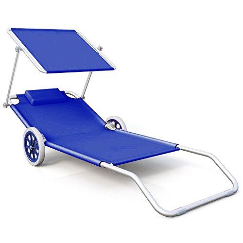 HENGMEI Liegestuhl Strandliege Sonnenliege mit Dach und Rädern, Klappsessel Verstellbare Rückenlehne, 152 x 62 x 13 cm (Blau)