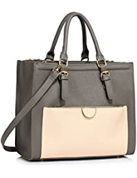 3b38b1903c LeahWard Women s Large Size Handbags Quality Faux Leather Tote Shoulder Bags  A4 School LW366
