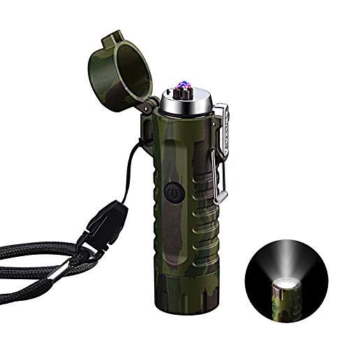 uerzeug Winddichte, USB aufladbar Feuerzeug mit Taschenlampe Flammenlos für Grill, Herd, Kerzen, Zigaretten und Outdoor Camping in Ausflüge Tarnung ()