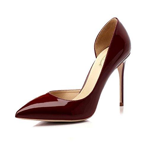 YIXINY Escarpin M388-5 Chaussures Femme PU+Caoutchouc Side Vide Pointu La Bouche Peu Profonde Talon Mince 8.5/10cm Talons Hauts Vin Rouge