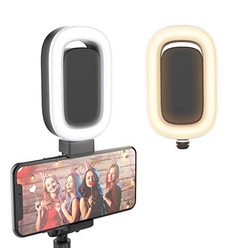 BlitzWolf Selfie Ring Licht, LED Ringlicht Fülllicht Kamera Make-up Licht mit 6 einstellbaren Helligkeitsstufen für BW-BS8L Superlanges Bluetooth Selfie Stick Stativ (Schwarz) -