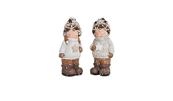Winterkinder Schnee-Kinder in Braun//Beige 16 x 9cm Winter Weihnachten Deko-Figur