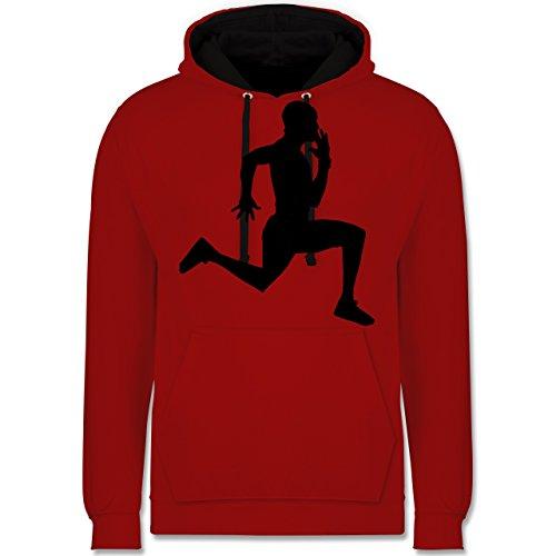 Laufsport - Läufer - Kontrast Hoodie Rot/Schwarz
