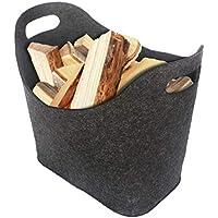 ORA-TEC Filzkorb für Kaminholz Kaminholzkorb – 45 x 24 x 40 cm – Kaminholztasche für Feuer-, Kamin- und Brennholz, Allzweckkorb aus Filz, Filztasche (Schwarz)