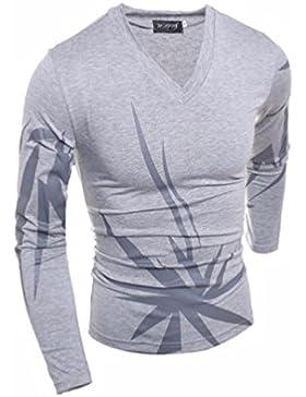 Camisas de Hombres de moda occidental irregulares individuales Hombres camiseta de manga larga de tejer polo shirt
