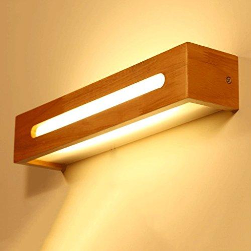 Spiegelfrontlicht Spiegel-Frontleuchten, LED-Massivholz-Wandleuchte, chinesische skandinavische Treppenlicht, Gang-WC-Spiegelleuchte, Schlafzimmer Nachttischlampe Wandlampe ( Farbe : Warmweiß-45 cm )