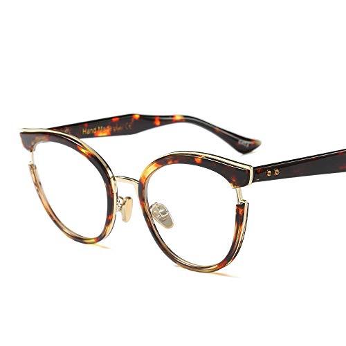 Easy Go Shopping Mode Classic Horn umrandeten klare Brille, Retro Brillengestell für Frauen Sonnenbrillen und Flacher Spiegel (Farbe : Leopard Print)