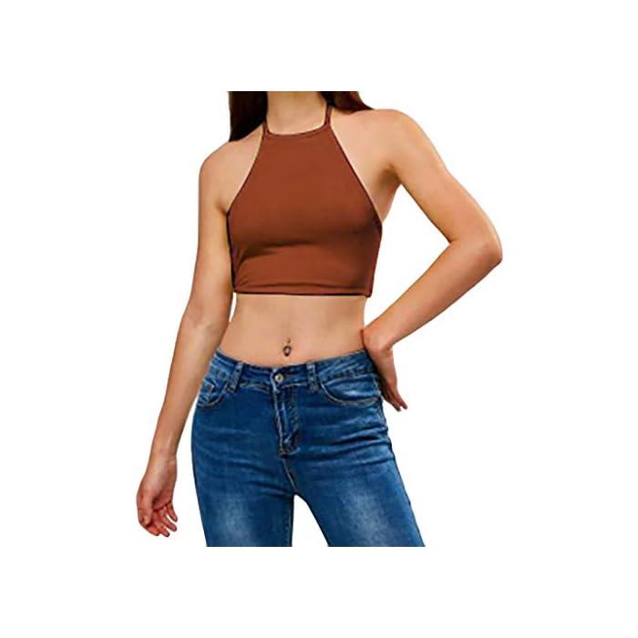 URSING Tank Tops Damen Sommer Frauen Feste Überlappung Cross Sling Crop Top Weste Halfter Off Shoulder Ärmelloses Bluse…