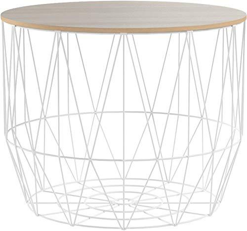 Invicta Interior 2er Set Moderner Couchtisch Beistelltisch Storage weiß Aufbewahrungsfach mit Eiche Ablage Aufbewahrungskorb mit Holzdeckel Deckel Korb Aufbewahrung Tisch
