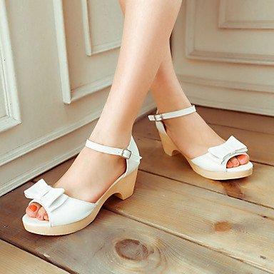 LvYuan Damen-Sandalen-Büro Kleid Lässig-PU-Blockabsatz-Club-Schuhe-Blau Rosa Weiß Pink