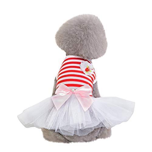 Tutu Tank (TUDUZ Schöne Hund Hochzeitskleid Kleidung Welpen Blume Garn Rock Bekleidung für Kleine Welpen mit Bow Tutu Kleid Gestreift Sommerkleider Haustier Tank Top(Large,Weiß))