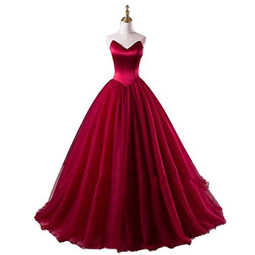 W-D Frauen Hochzeitskleid Frauen Brautjungfer Hochzeitskleid V-Ausschnitt Liebsten Empire-Taille Brautkleid Satin Lace Up Maxi Lange Kleider für die Hochzeit, Weinrot, US8