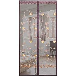 Magnétique Moustiquaire Porte Rideau, Empêcher Les Insectes D'entrer Rideau De Porte Super Bien Engrener Porte Été Pour Porte Du Salon Balcon Couloir (Color : Brown, Size : 110 * 200cm)