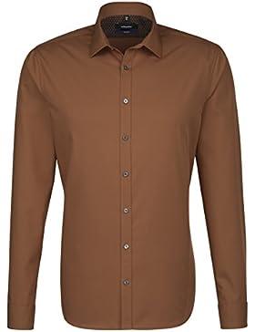 SEIDENSTICKER Herren Hemd Tailored 1/1-Arm Bügelfrei Uni / Uniähnlich City-Hemd Kent-Kragen Kombimanschette weitenverstellbar