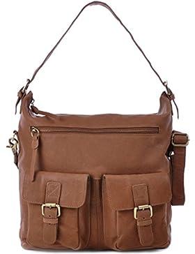 MASQUENADA, Cntmp, Damen Schultertaschen, Hobo-Bags, Handtaschen, Umhängetaschen, DIN-A4, Leder, 30x33x13cm (B...