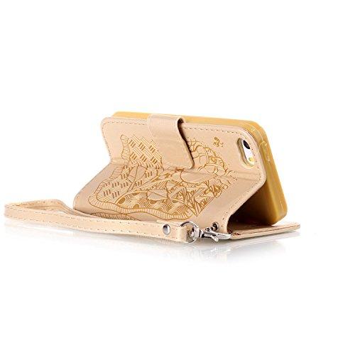 TOYYM Tasche Hülle für iPhone 6/6S,Flip Schutzhülle Zubehör PU Leder Handytasche 3D Cool Braun Schädel Muster Design im Bookstyle mit Ständerfunktion[Stand Feature] Kartenfächer für Apple iPhone 6/6S  Gold Rose